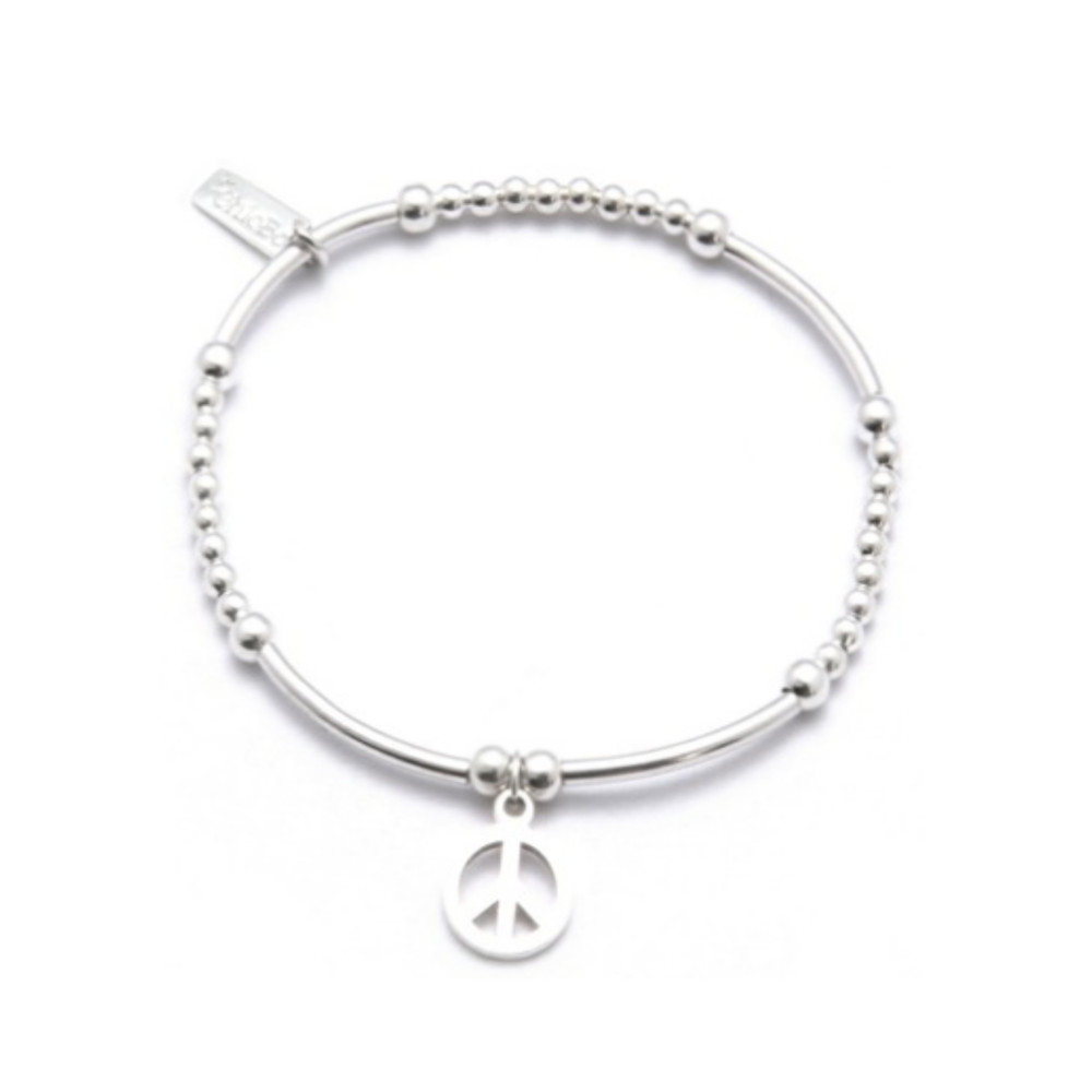 Cute Mini Noodle and Ball Bracelet with Peace Charm - Silver