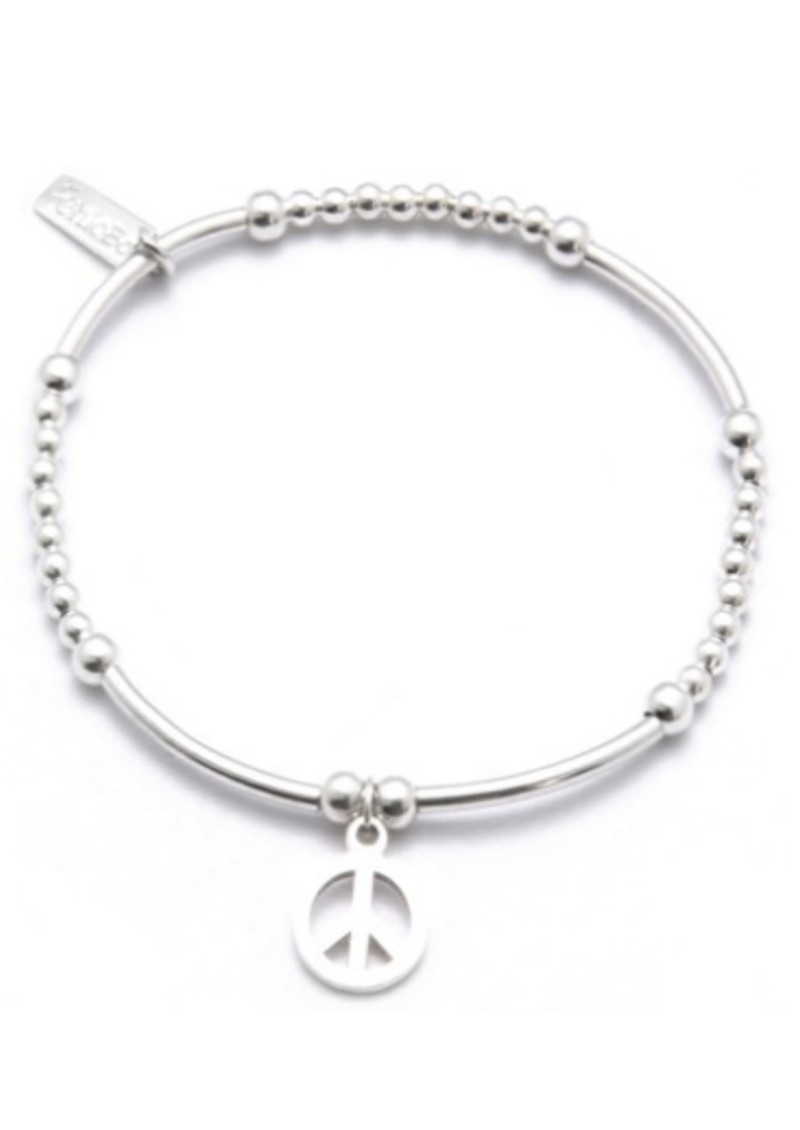 ChloBo Cute Mini Noodle and Ball Bracelet with Peace Charm - Silver main image
