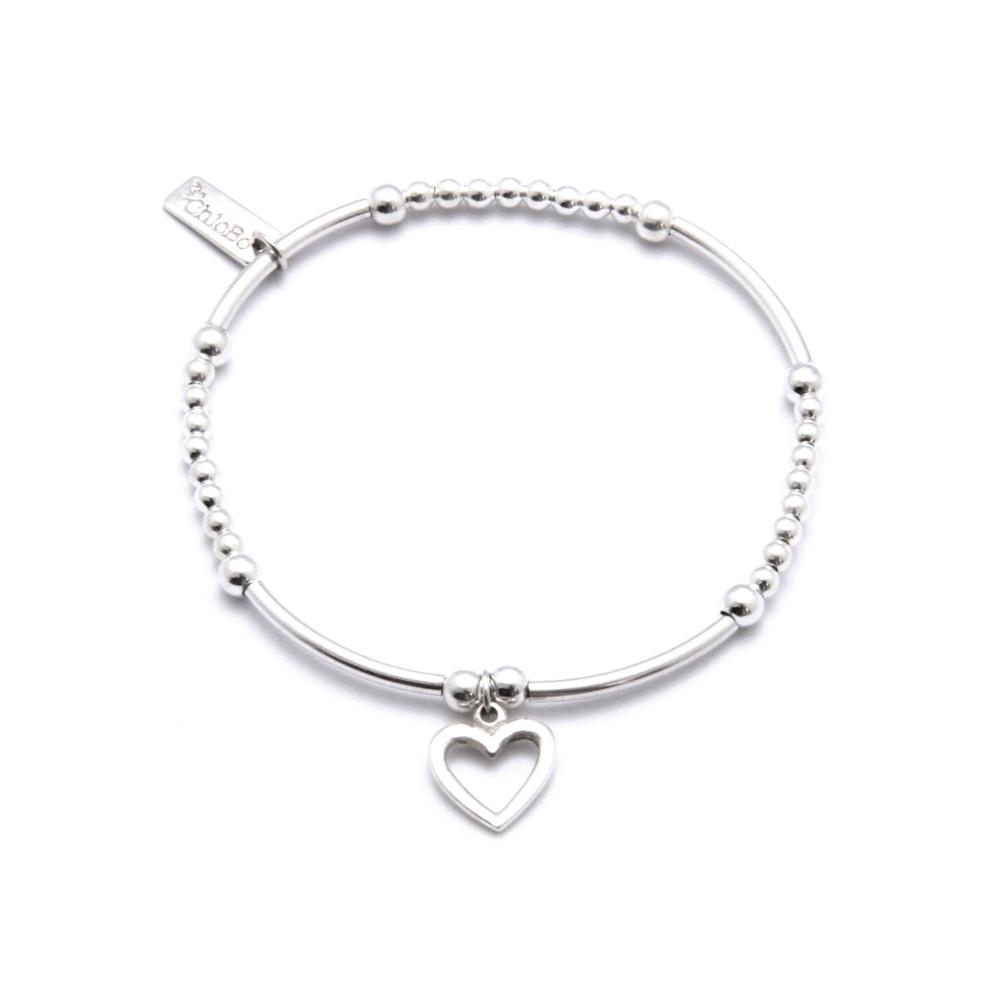 Cute Mini Bracelet With Open Heart Charm - Silver