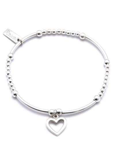 ChloBo Cute Mini Bracelet With Open Heart Charm - Silver main image