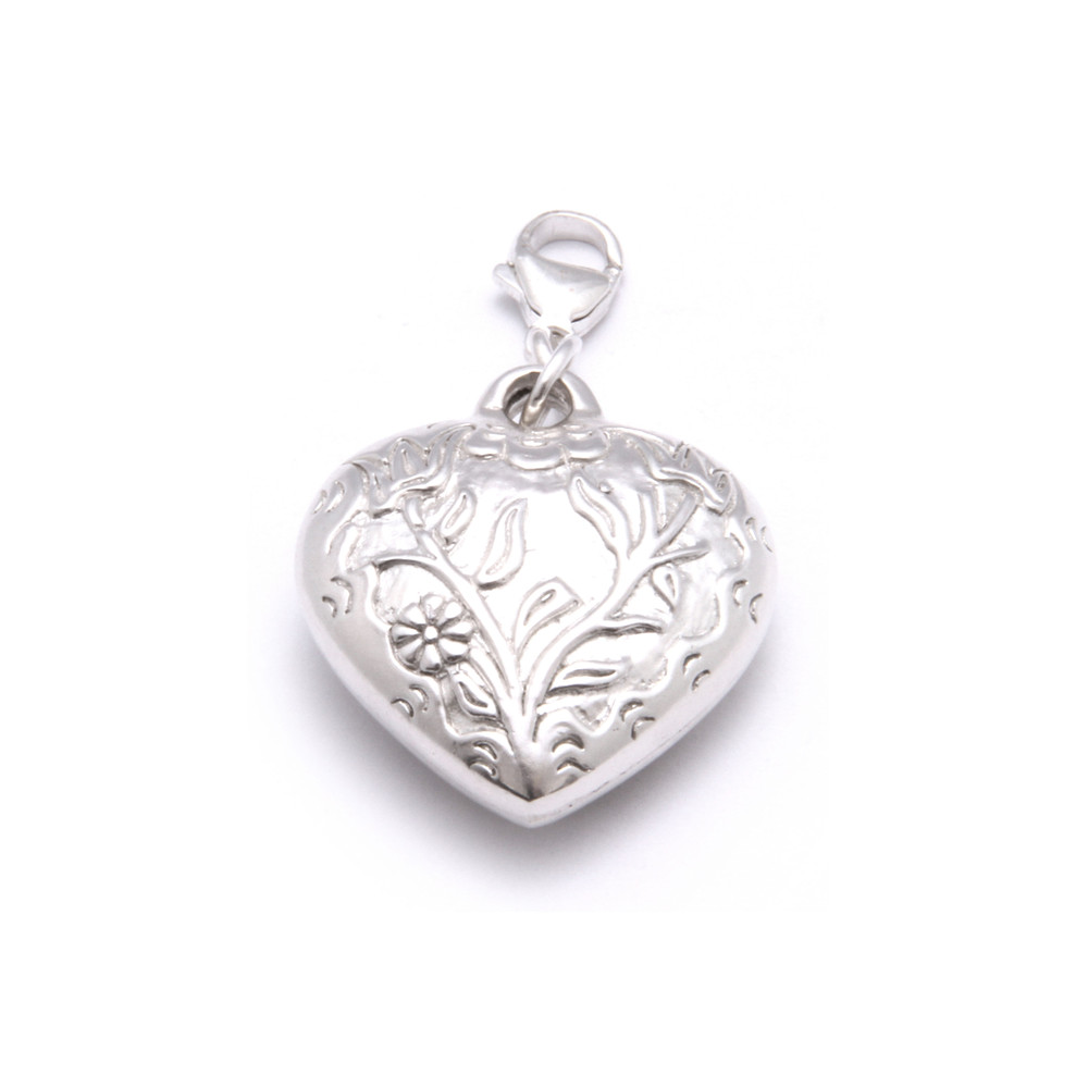 Large Embossed Heart Pendant Charm