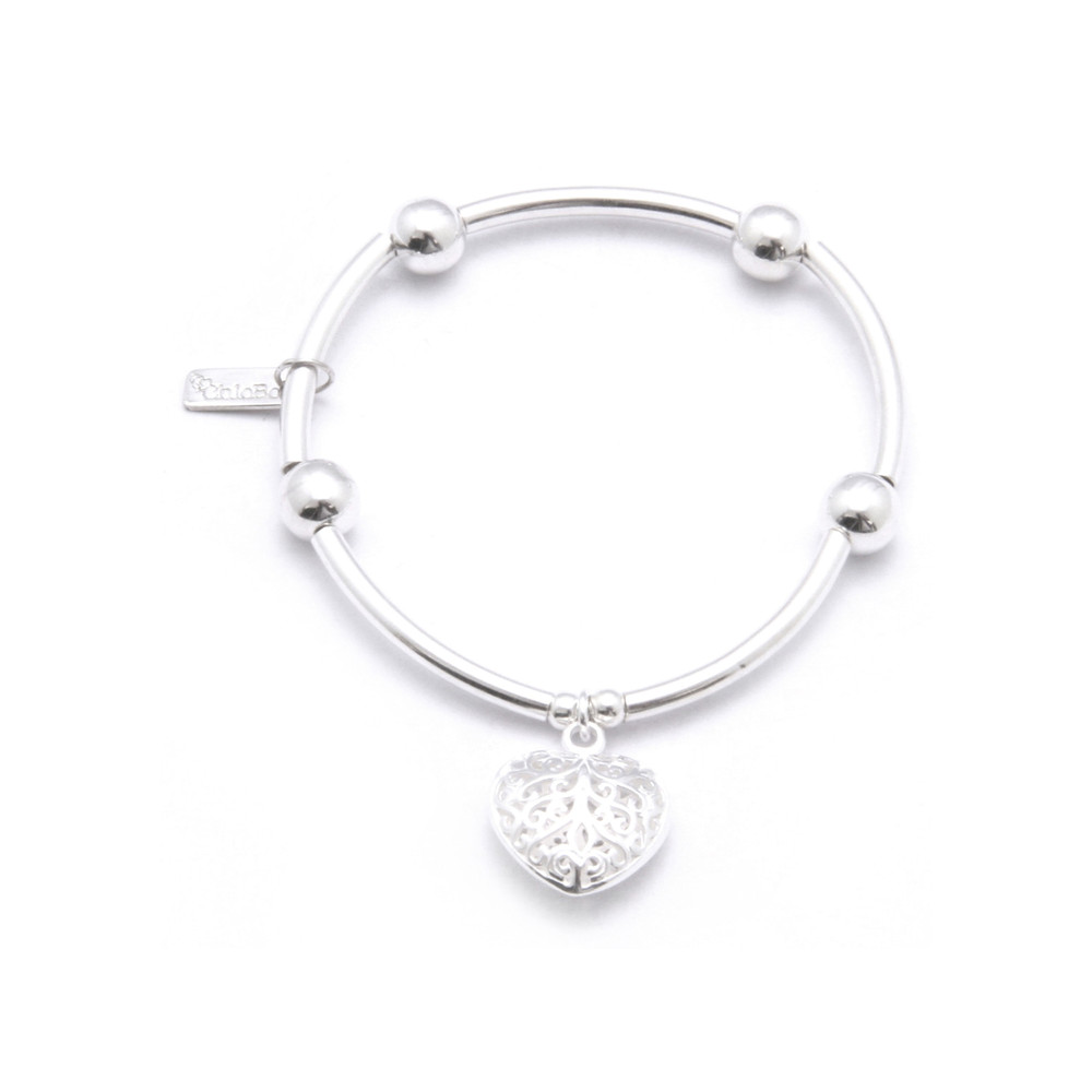 Noodle Ball Bracelet With Filligree Heart - Silver