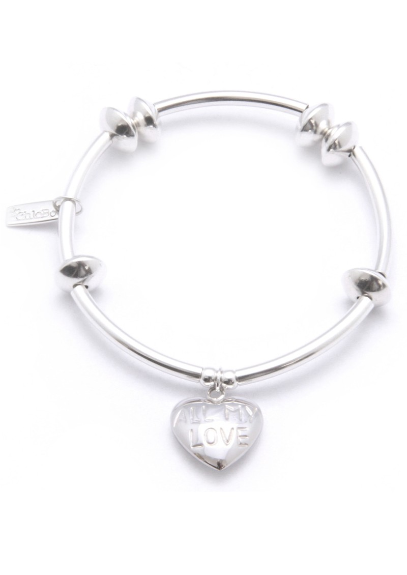 Noodle Disc Bracelet with All My Love Heart Charm - Silver main image