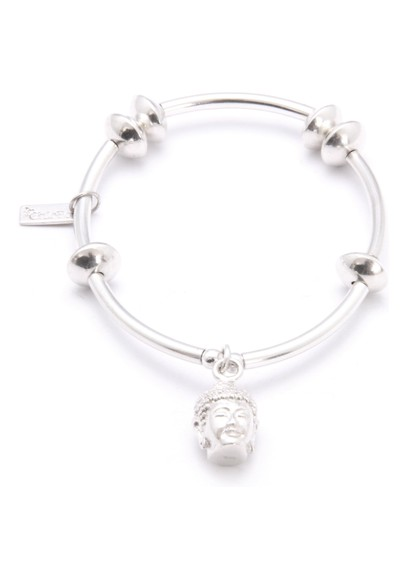 ChloBo Noodle & Disc Bracelet With Buddha Head - Silver main image