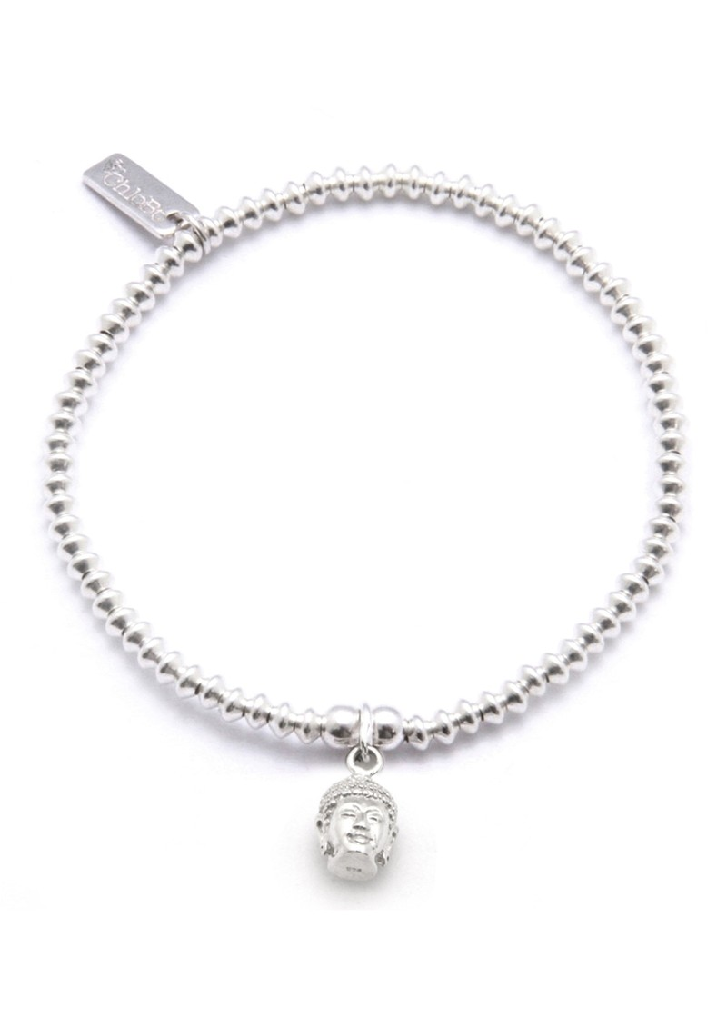 Cute Charm Bracelet With Buddha Head - Silver main image