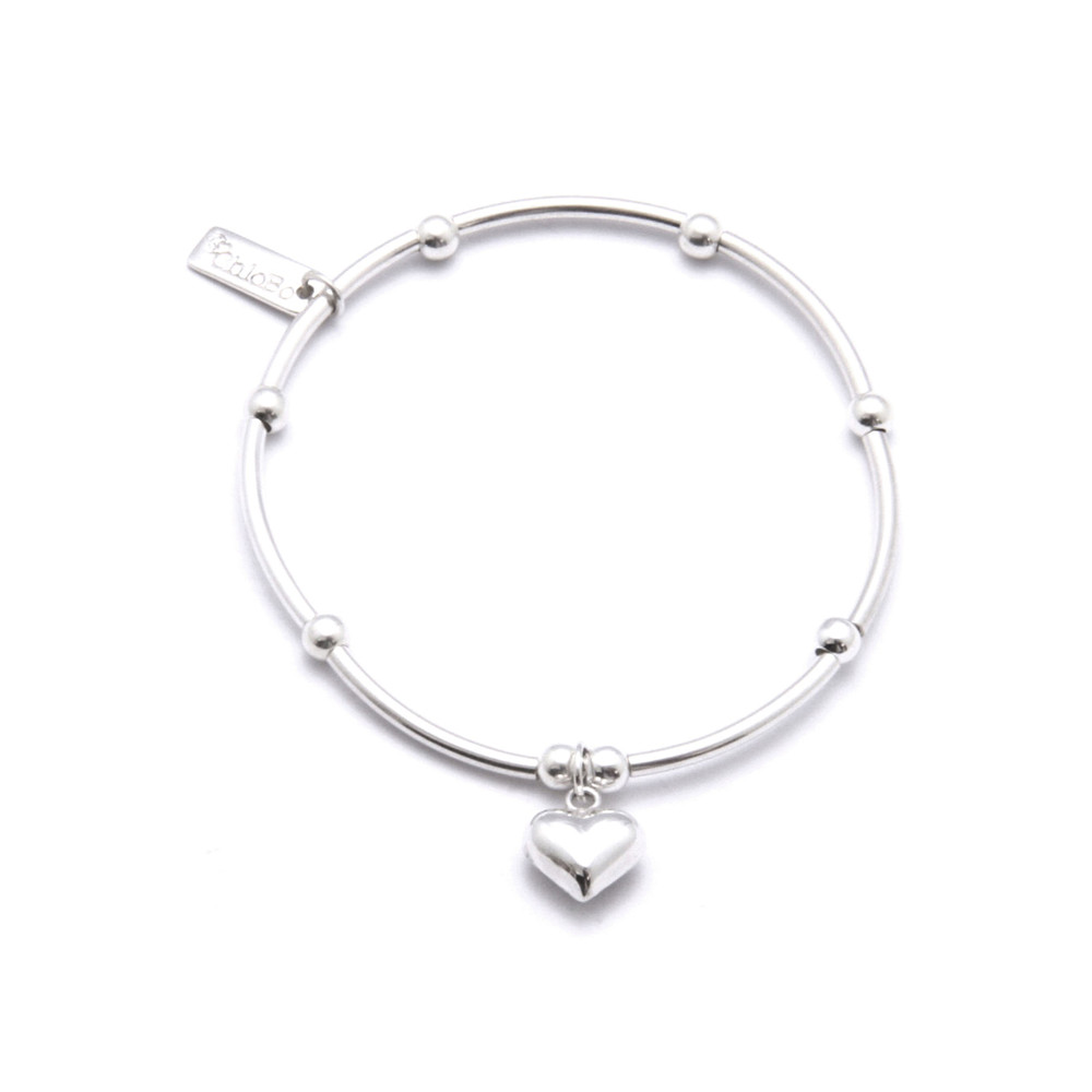 Mini Noodle Ball With Puffed Heart - Silver