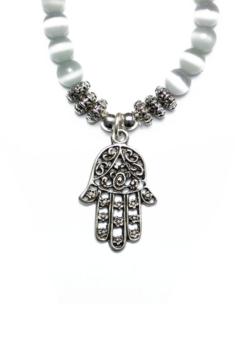 wish exclusive bracelet with karma charm grey