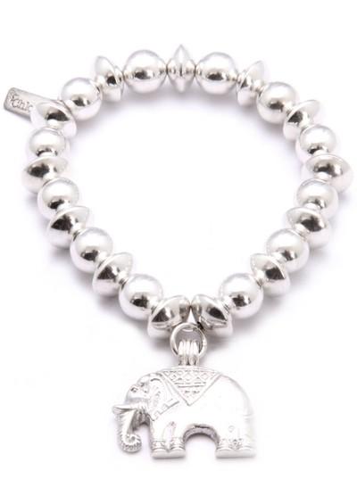 ChloBo Medium Ball Disc Bracelet With Elephant Charm - Silver main image