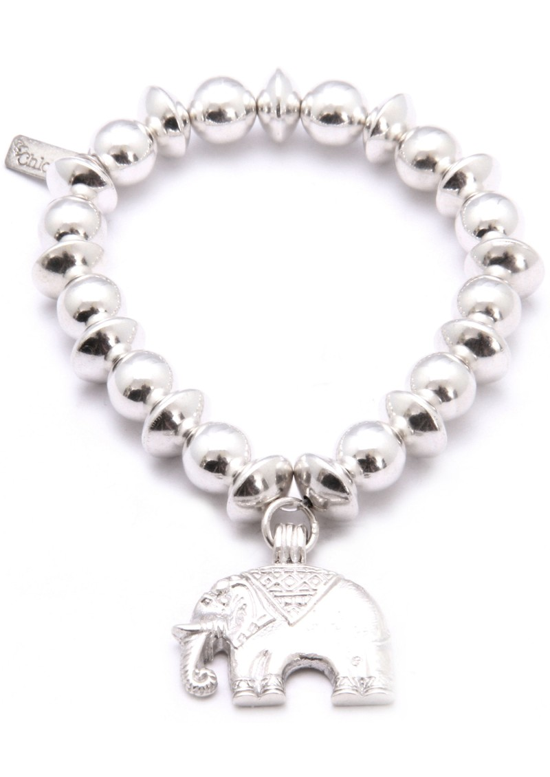 Medium Ball Disc Bracelet With Elephant Charm - Silver main image