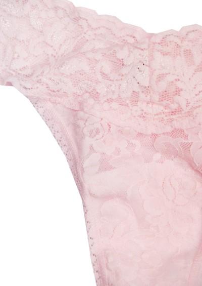 Hanky Panky Signature Rolled Lace Thong - Bliss Pink main image