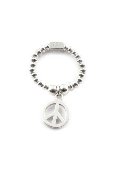 ChloBo Mini Disc Ring With Peace Charm - Silver  main image