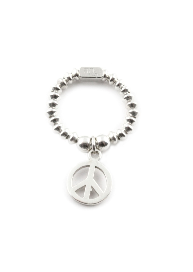 Mini Disc Ring With Peace Charm - Silver  main image