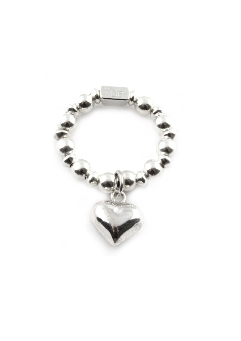 Ball & Disc Ring With Heart Charm main image