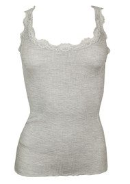 Silk Blend Lace Vest - Light Grey Melange