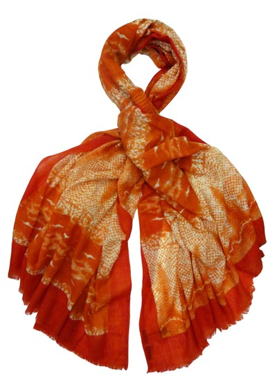 Lily and Lionel Oversized Wool Mix Python Scarf - Coral main image
