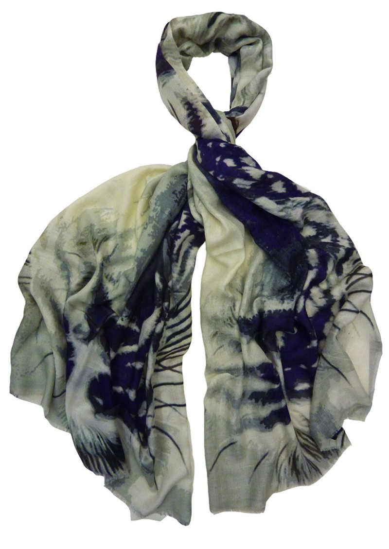 Eye of the Tiger Silk Scarf - Purple main image
