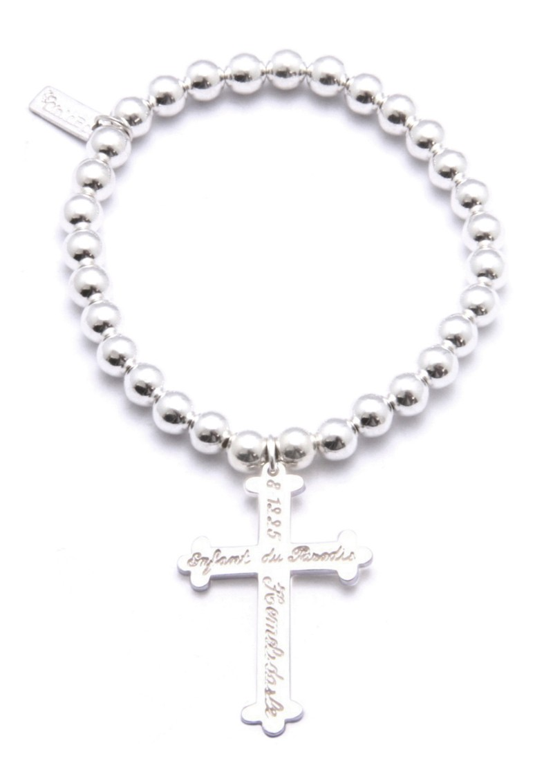 Small Ball Bracelet with Large Inscribed Cross Charm main image