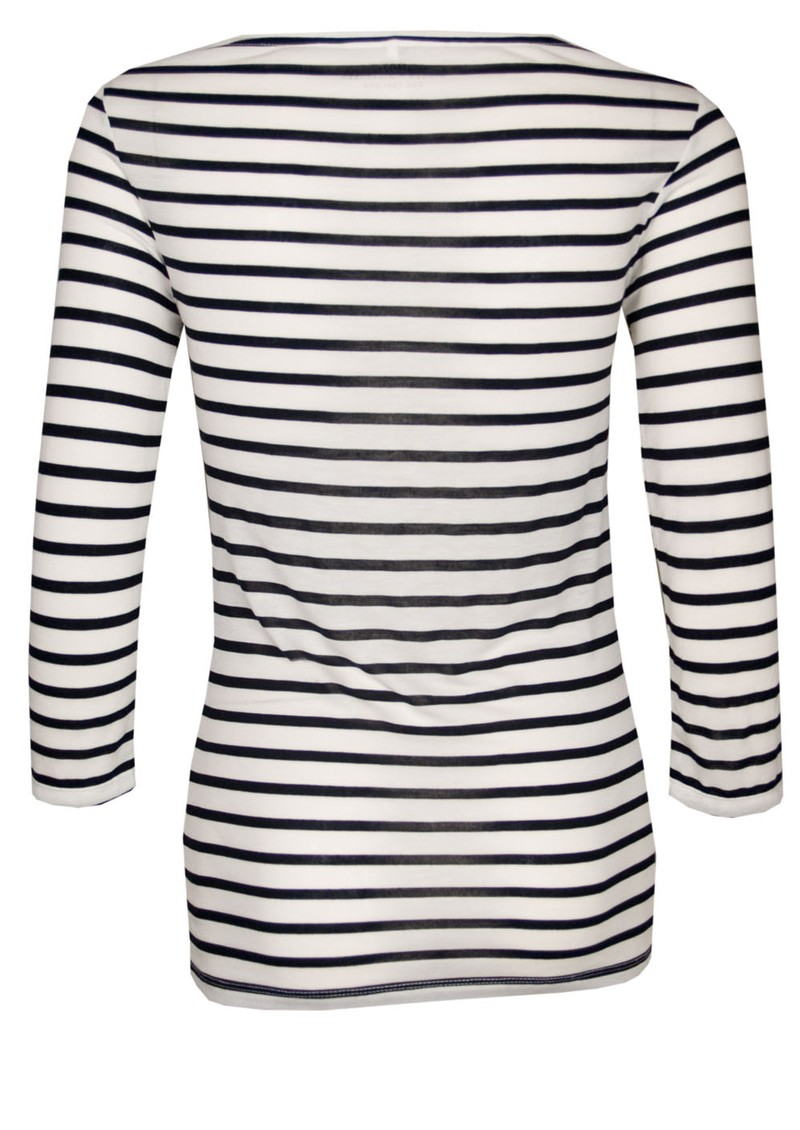 Night Striped 3/4 Sleeve Top - Natural and Black main image