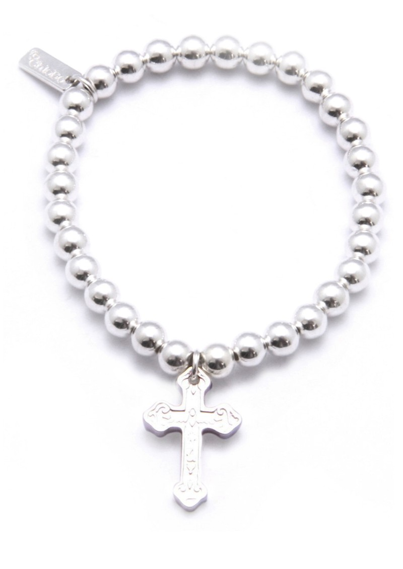 Small Ball Bracelet with Small Embossed Cross main image