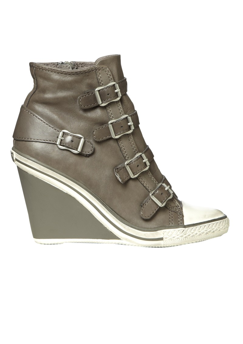 Thelma Leather Wedge Trainer - Stone  main image