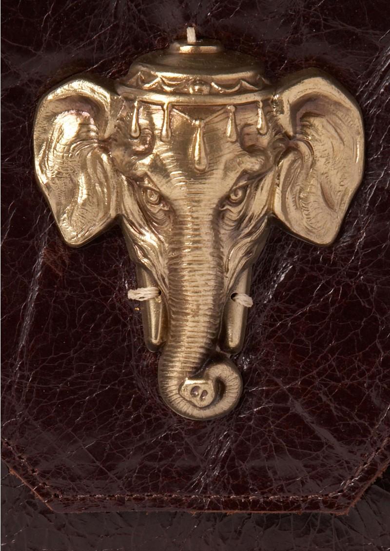 Sous Les Paves Bellini Oversized Clutch Bag With Elephant- Mogano main image
