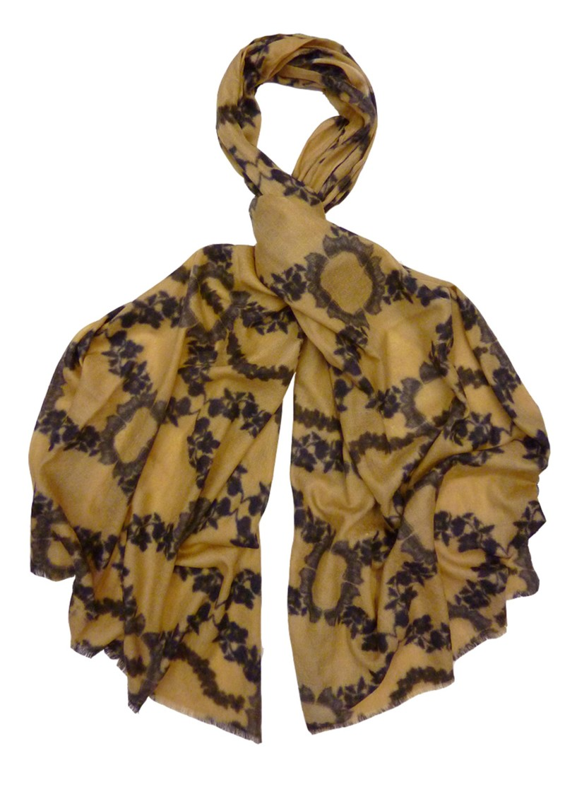 Tattoo Wool Scarf - Caramel main image