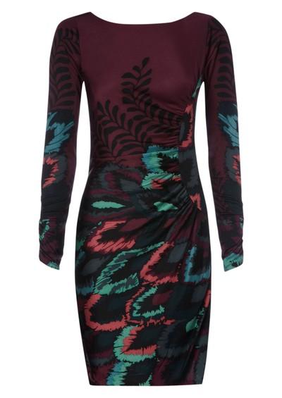 Hale Bob Peacock Silk Dress - Wine main image