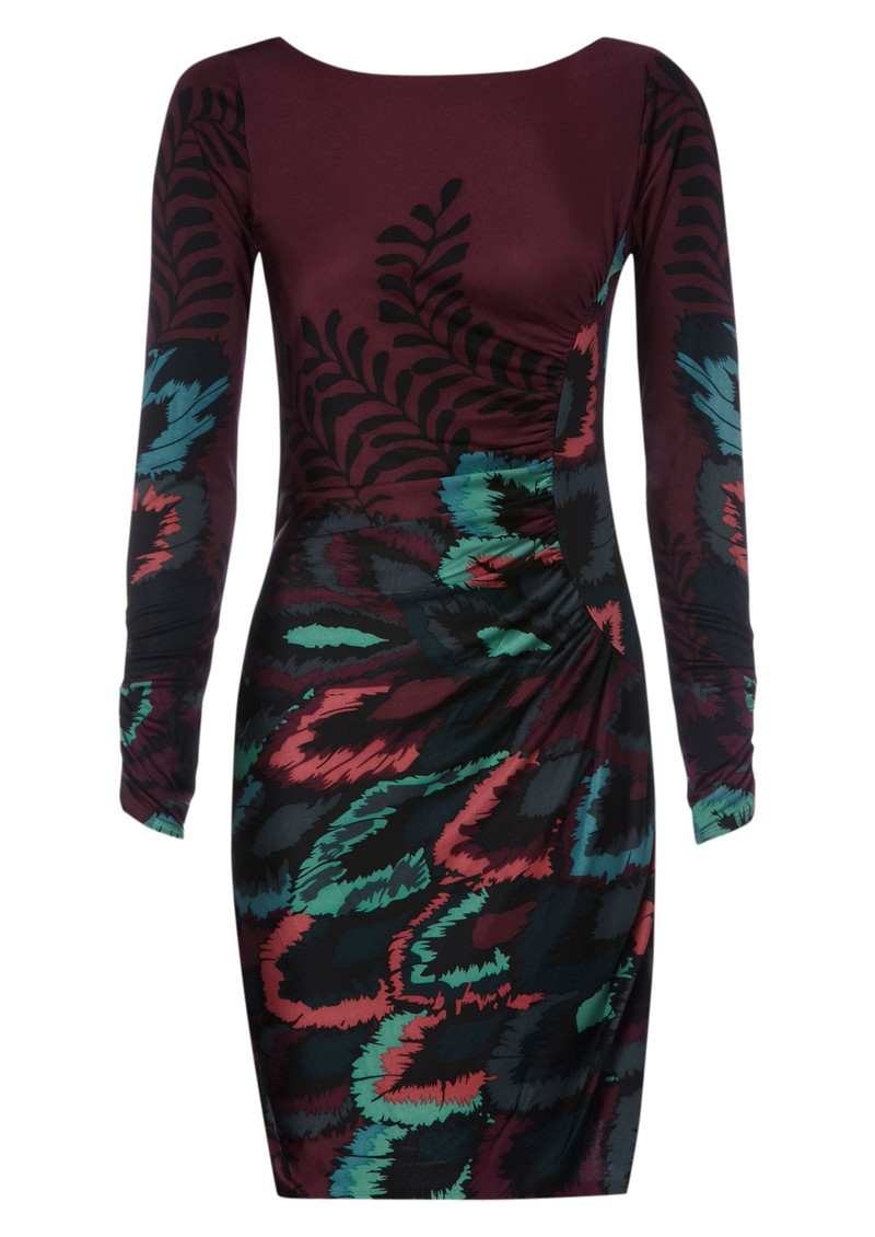 Peacock Silk Dress - Wine main image