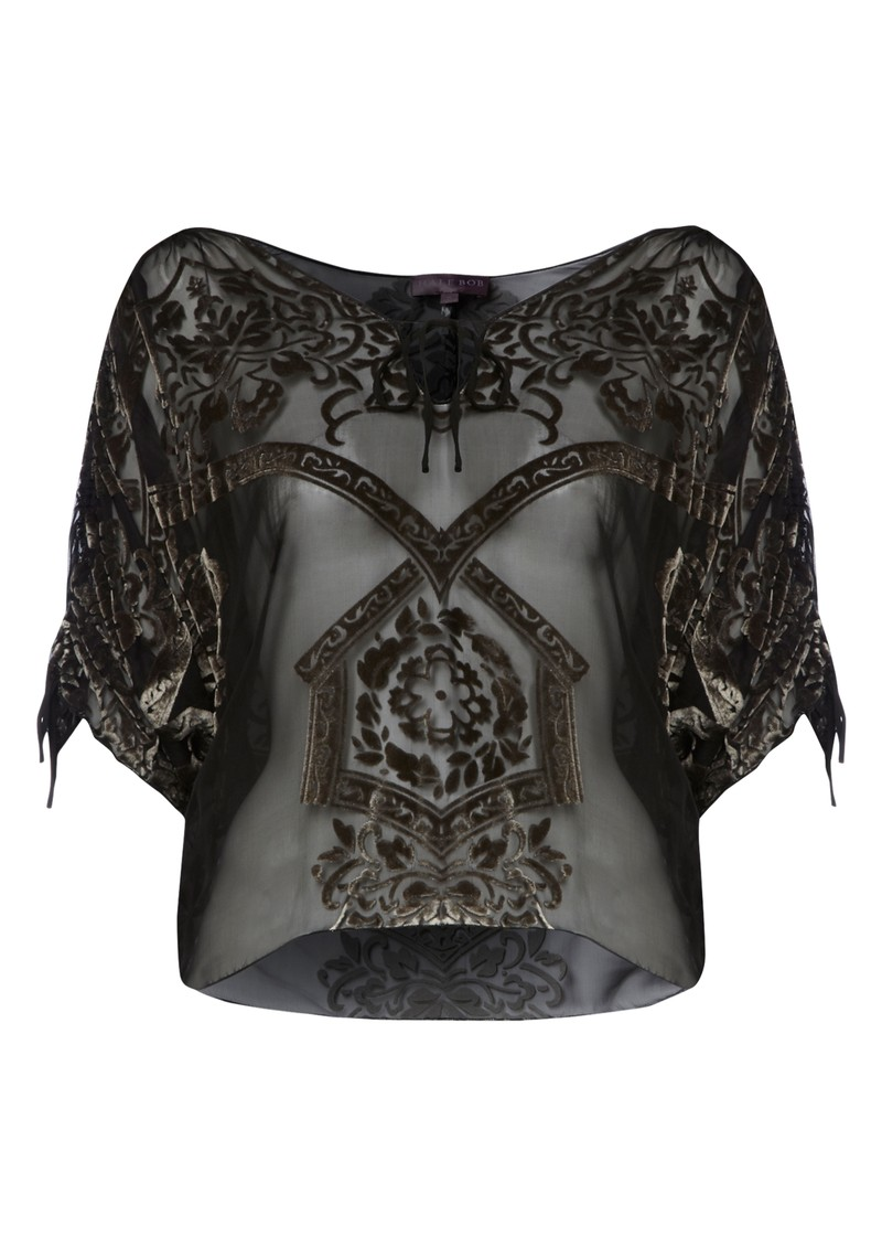 Velvet Silk Mix Blouse - Taupe main image