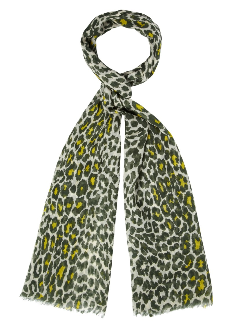Safari Wool & Silk Mix Scarf - Moss main image