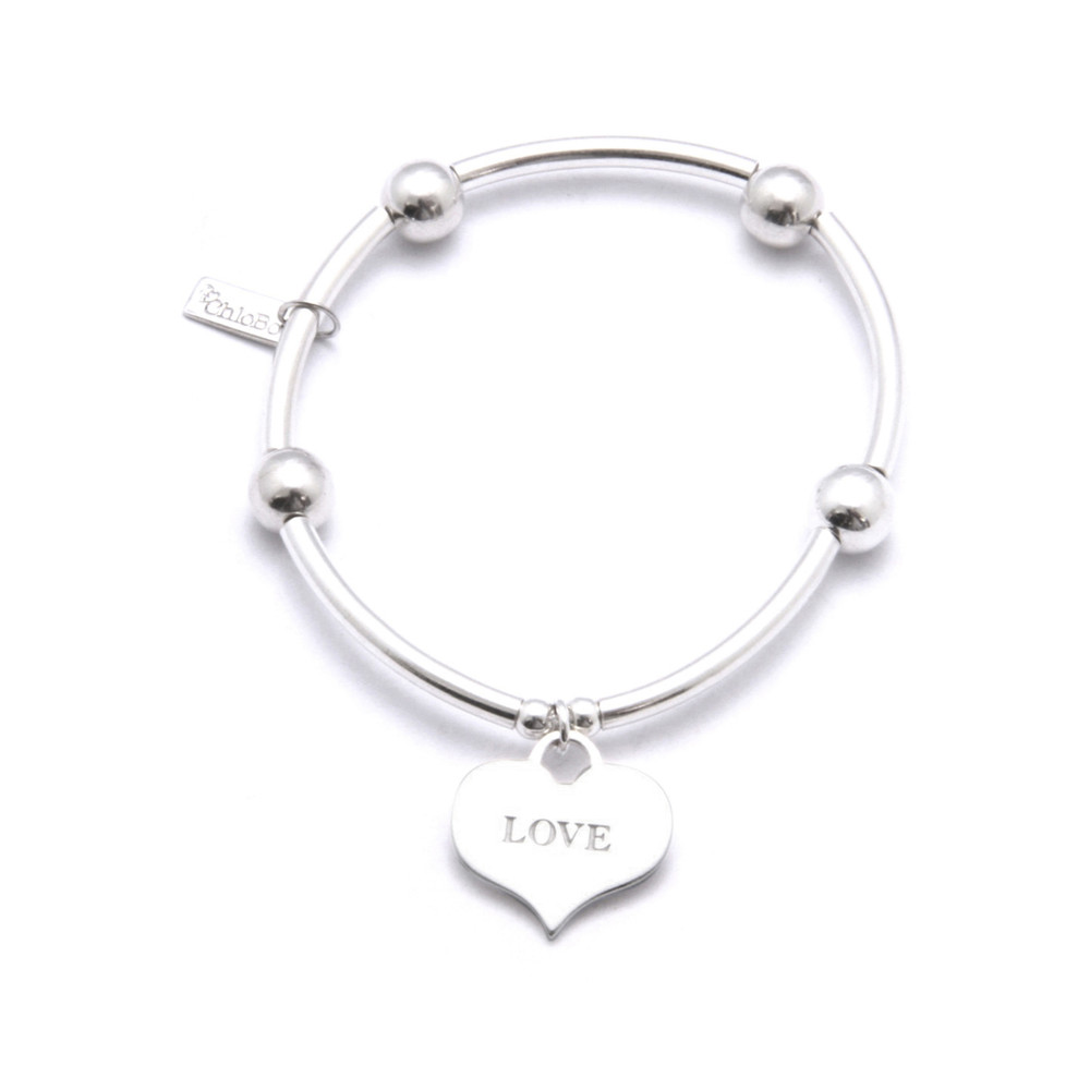 Noodle Ball Bracelet with Love Heart Charm