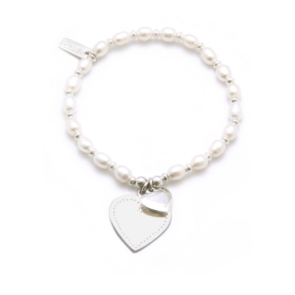 Small Ball Pearl Bracelet with Flat Heart - Silver