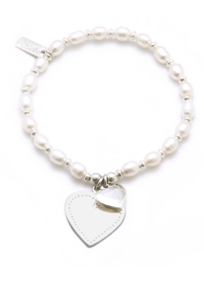 ChloBo Oystins Ball Pearl Bracelet with Flat Heart main image