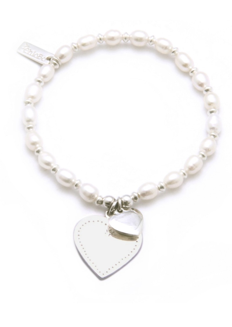 Small  Ball Pearl Bracelet with Flat Heart - Silver main image