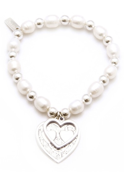 ChloBo Oystins Large Pearl Bracelet With Decorated Heart Charm main image