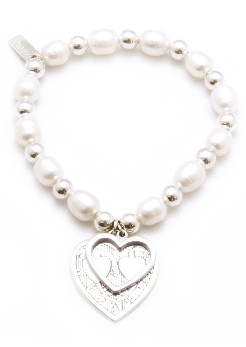 Oystins Large Pearl Bracelet With Decorated Heart Charm main image