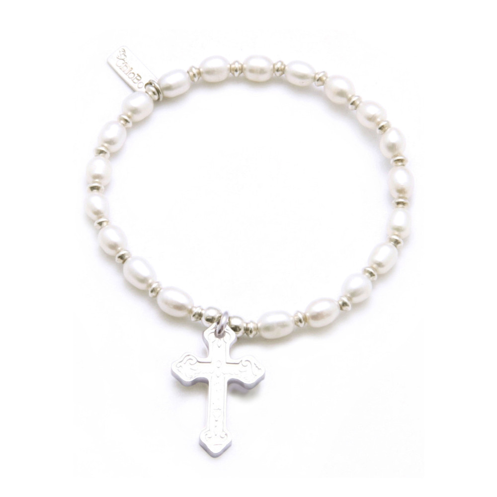 Small Pearl Bracelet With Embossed Cross Charm - Pearl & Silver