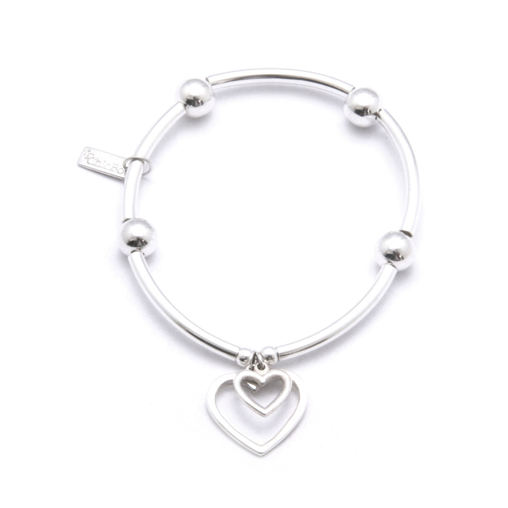 Noodle Ball Bracelet With Open Heart Charms - Silver