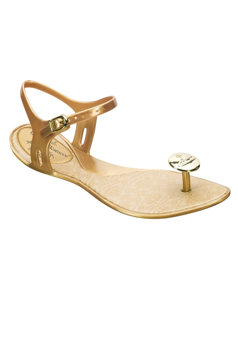 Melissa Viviene Westwood Button Thongs - Gold main image