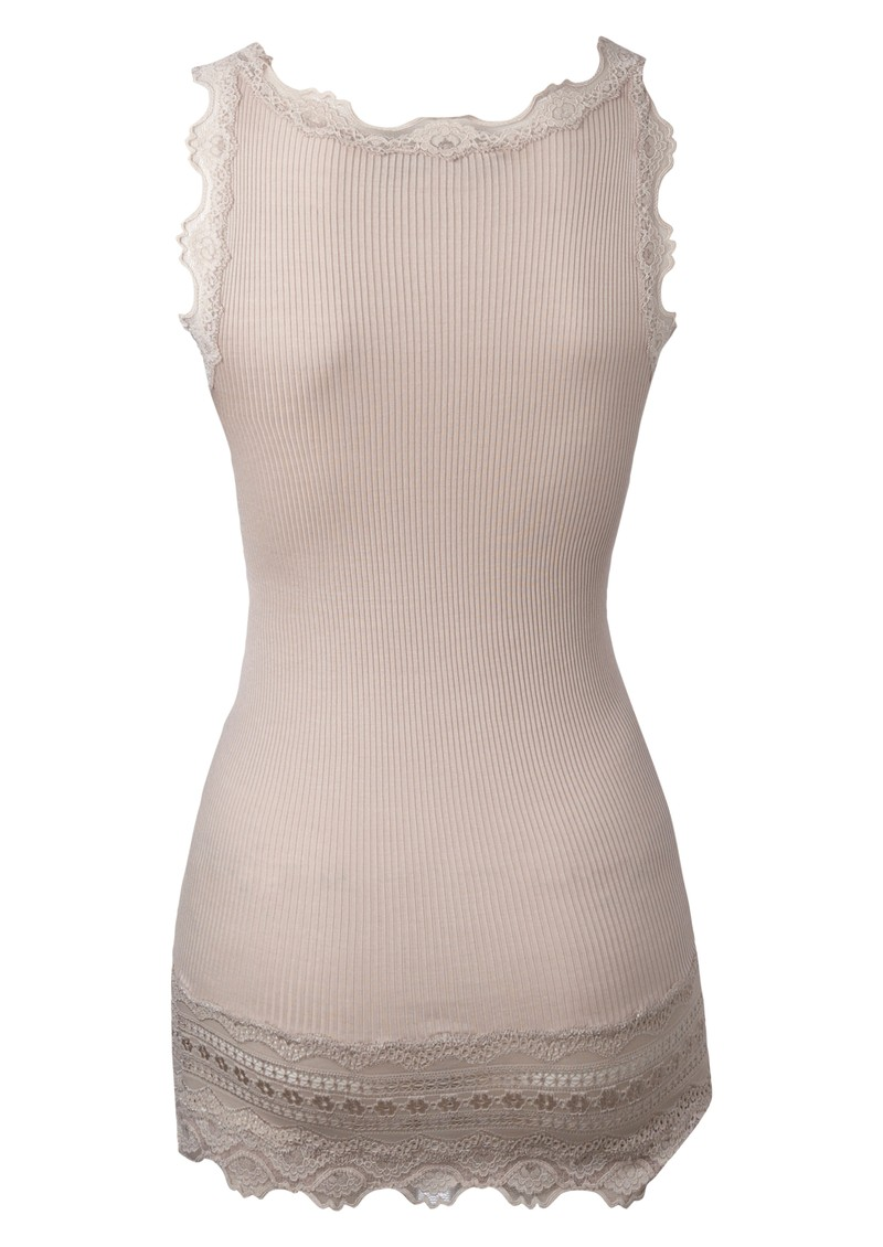 Wide Lace Silk Blend Vest - Cacao main image
