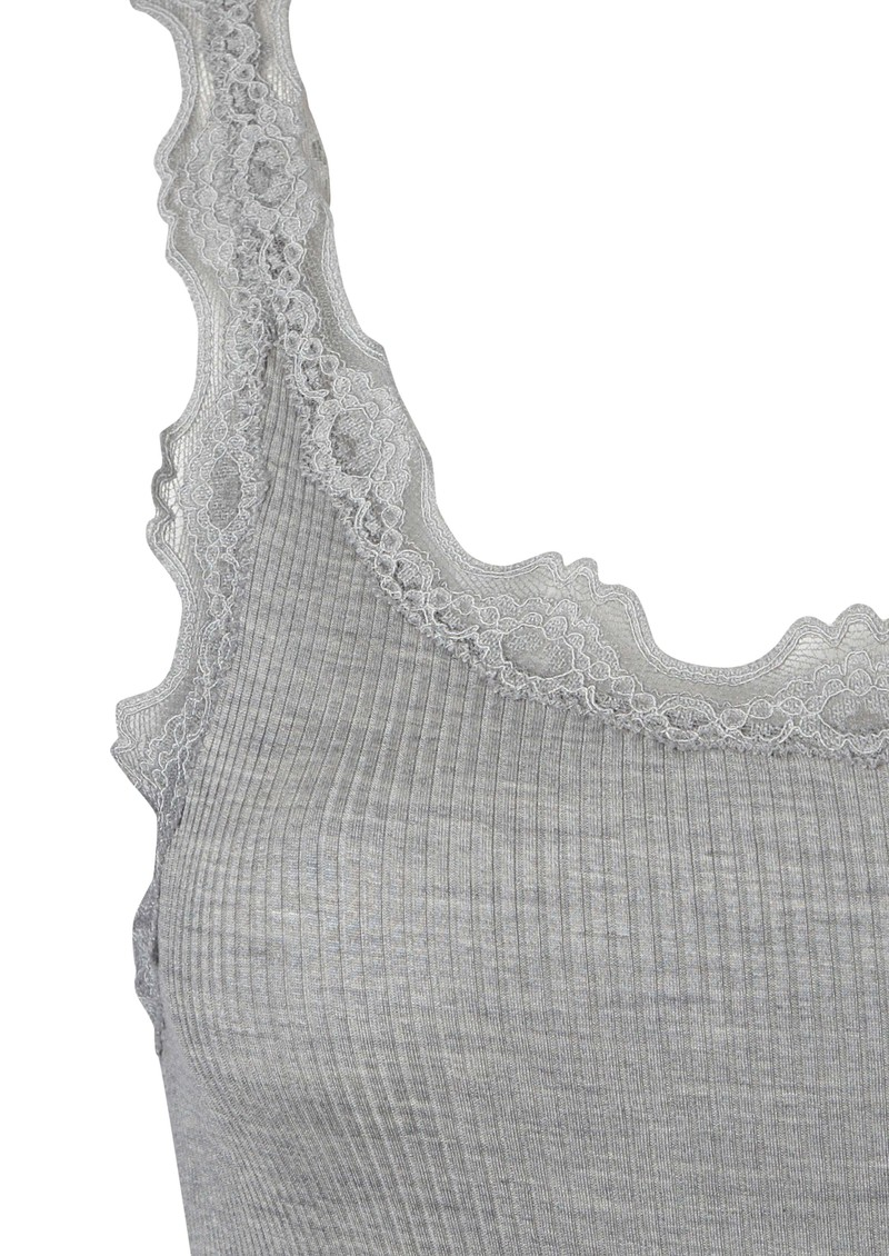 Wide Lace Silk Blend Vest - Grey main image
