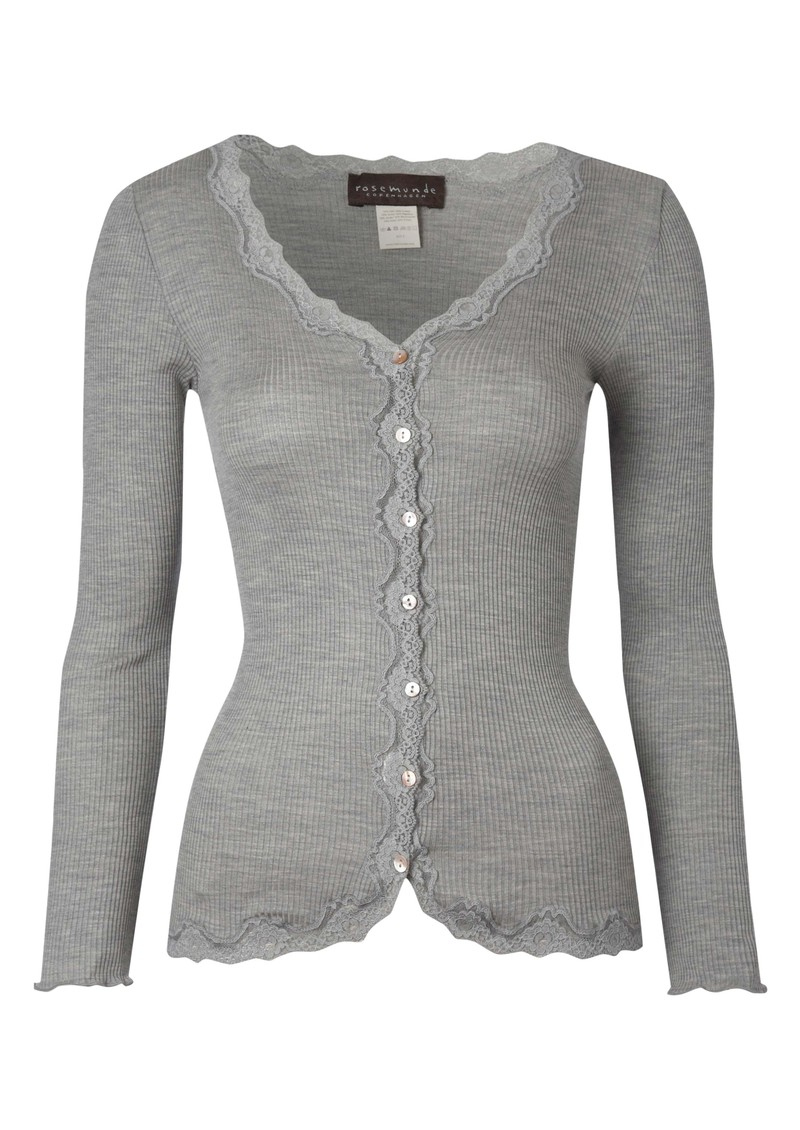 Long Sleeved Silk Blend Lace Cardigan - Grey main image