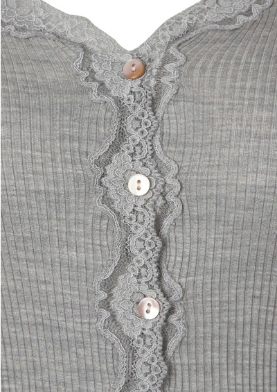 Rosemunde Long Sleeved Silk Blend Lace Cardigan - Grey main image