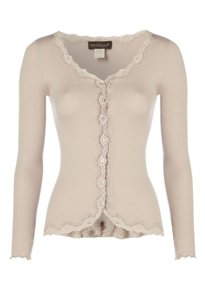 Rosemunde Long Sleeved Silk Blend Lace Cardigan - Cacao main image