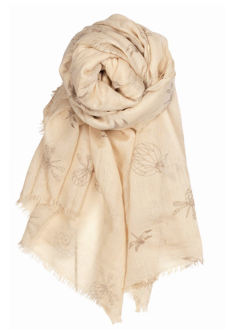 Dragonfly Silk & Wool Mix Scarf - Sand main image