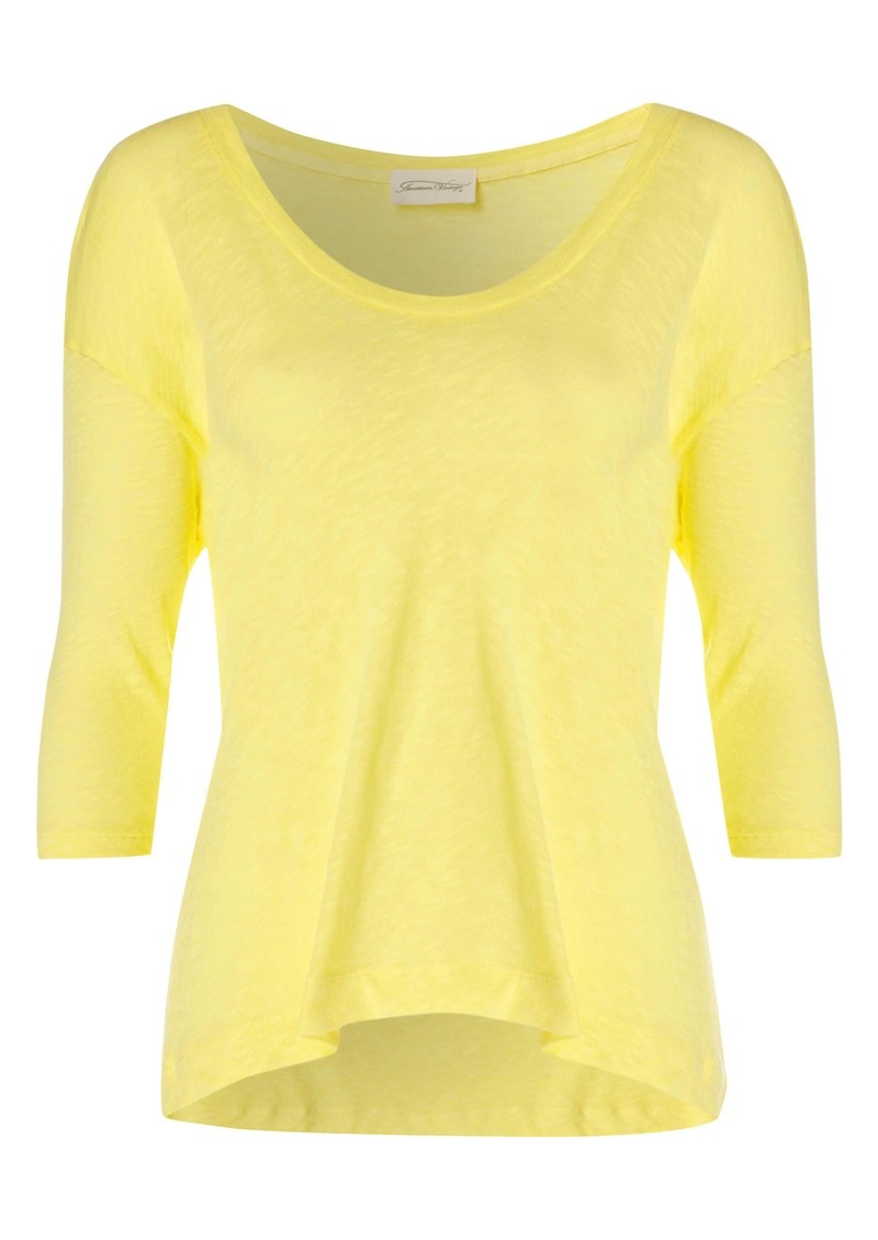 American Vintage Bakerfield Knit 3/4 Sleeve Top - Fluo Yellow main image
