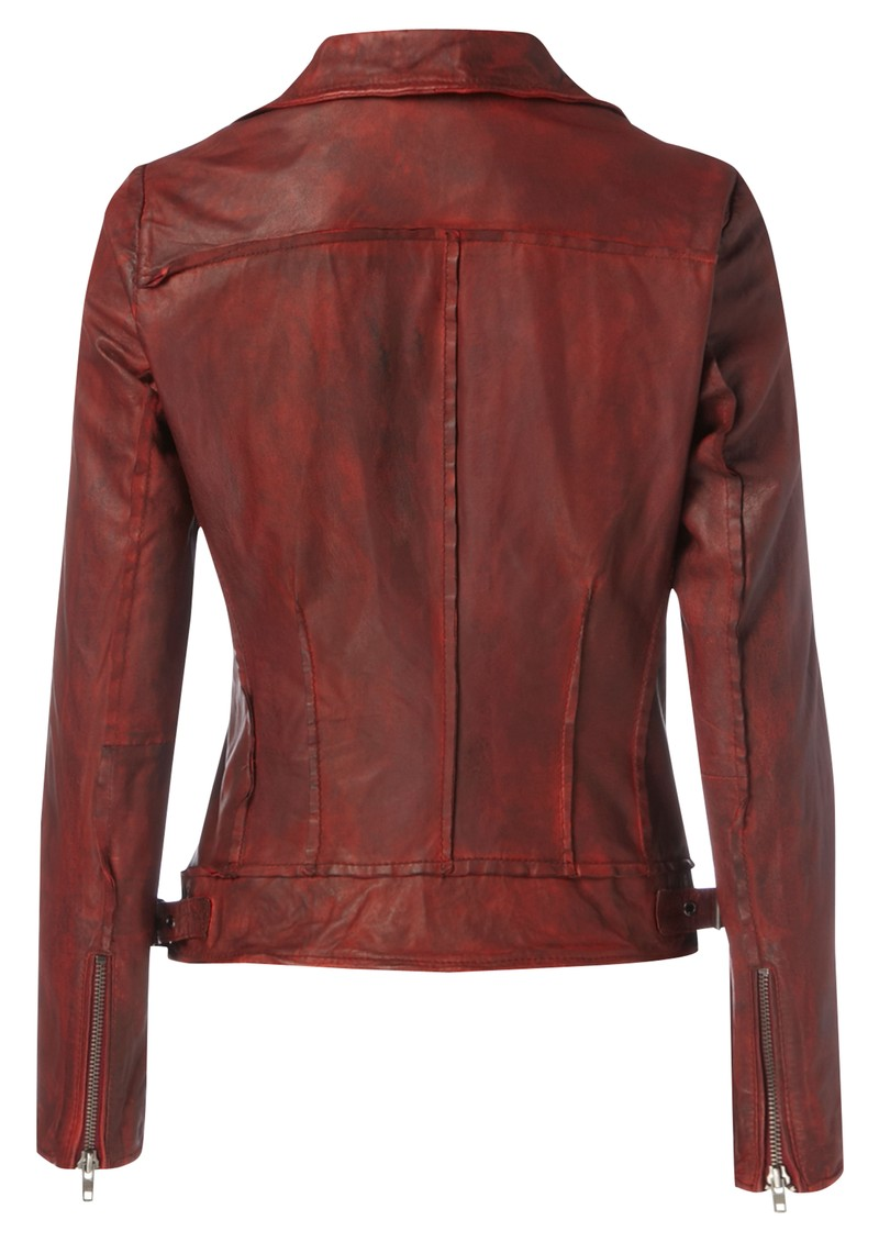 Quinn Biker Leather Jacket - Cherry Red main image