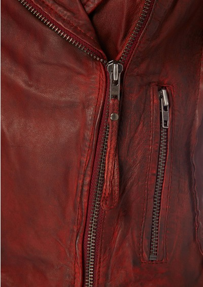 Muubaa Quinn Biker Leather Jacket - Cherry Red main image
