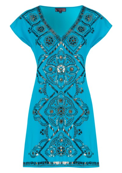 Hale Bob Beaded Charmeuse Silk Dress - Blue main image