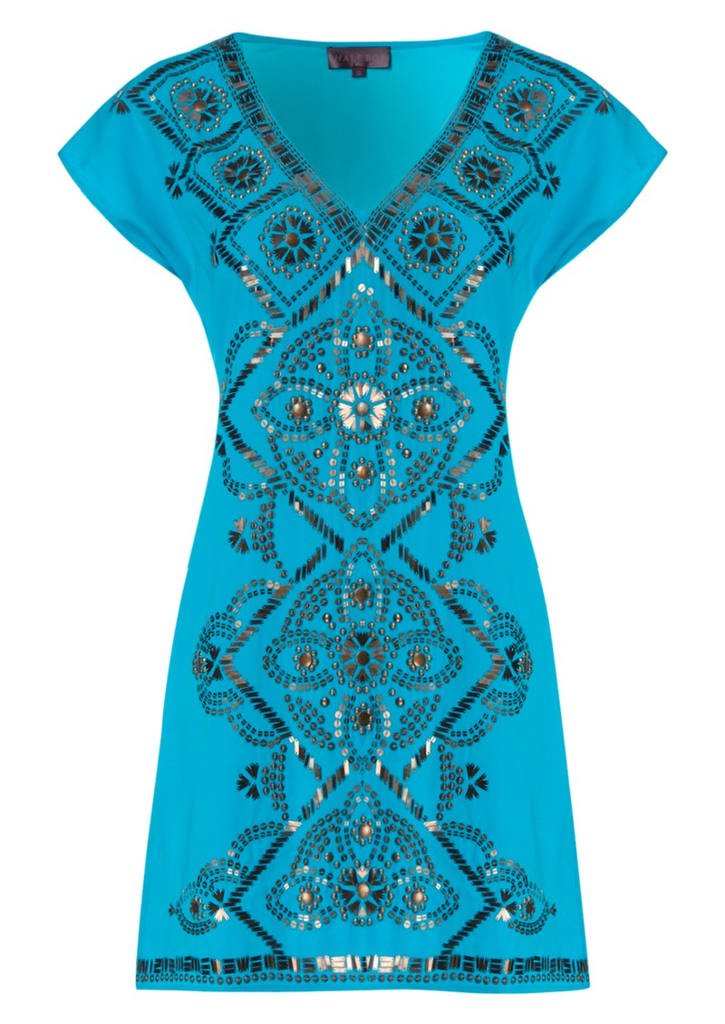 Beaded Charmeuse Silk Dress - Blue main image
